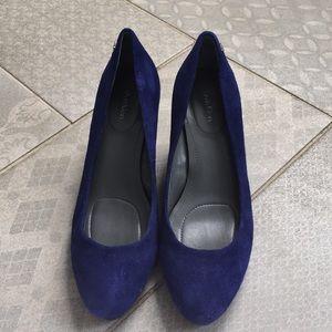 Blue suede Calvin Klein Heels